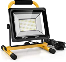 Olafus 60W LED Work Light (400W Equivalent), 6000LM 2 Brightness Modes, IP65 Waterproof Job Site Lighting with Stand for C...