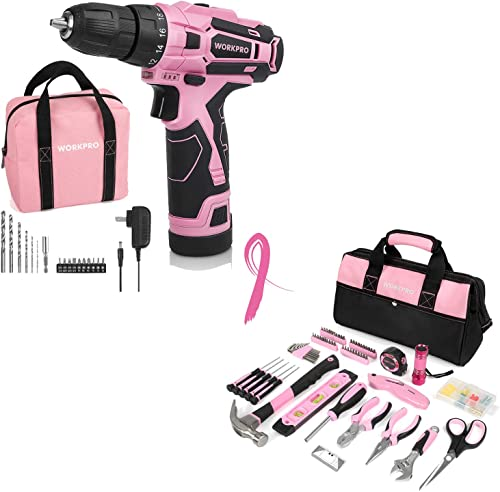 wholesale WORKPRO 12V Pink Cordless Drill Driver Set with Storage Bag high quality & Home 2021 Repairing Pink Tool Set with Wide Mouth Open Storage Bag outlet online sale