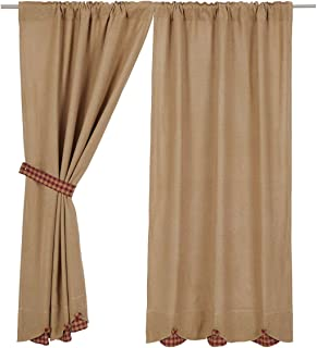 VHC Brands Burlap with Burgundy Check Scalloped (Short Panel Set of 2)