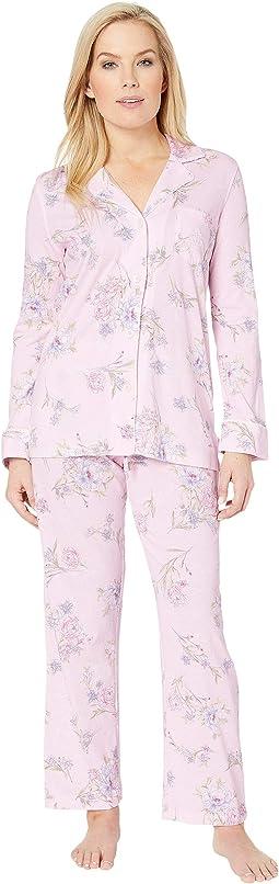 12f9d65986 Pink Floral Print. 0. LAUREN Ralph Lauren. Petite Knit Notch Collar Pajama  Set