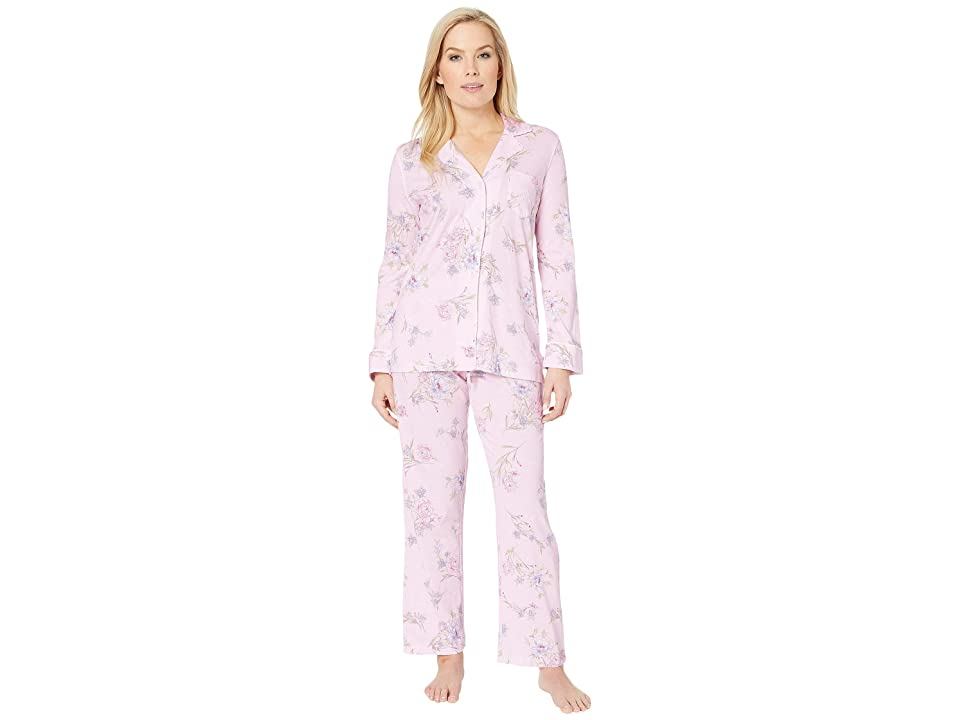 LAUREN Ralph Lauren Petite Knit Notch Collar Pajama Set (Pink Floral Print) Women