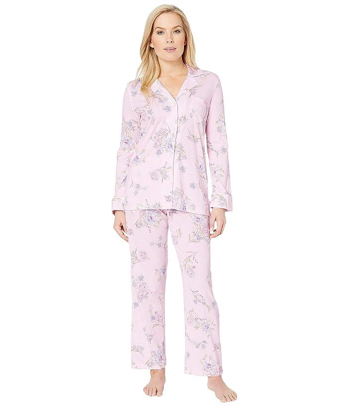LAUREN Ralph Lauren Petite Knit Notch Collar Pajama Set (Pink Floral Print) Women