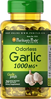 Puritans Pride Odorless Garlic 1000 mg Rapid Release Softgels, 250 Count