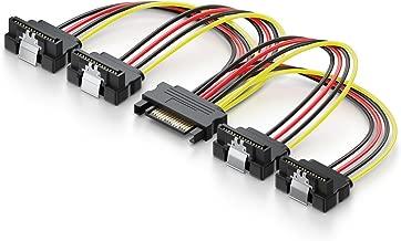 deleyCON 0,15m S-ATA Adaptador de Alimentación en Y - de 1x SATA Hembra a 4X SATA Macho en Àngulo - Cable de Alimentación Interno SATA de HDD SSD - Conecte hasta 4 Dispositivos
