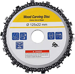 5 Inch Grinder Chain Disc 14 Teeth 7/8 Inch Arbor Wood Carving Disc For 125mm Angle Grinder(Yellow)