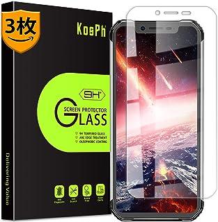 KOSPH【3枚セット】 Blackview BV9600/BV9600 Pro 強化ガラス フイルム 日本製素材旭硝子製液晶保護フイルム/硬度9H/高透過率/飛散防止/耐衝撃/自動吸着/指紋を減らす/3D Touch対応 (Blackview BV9600/BV9600 Pro, 透明)