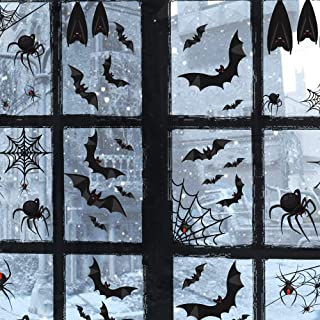 TMCCE 107 Piece Halloween Party Decorations Black Bats Spiders Window Clings Decals Stickers for Halloween Party Supplies ...