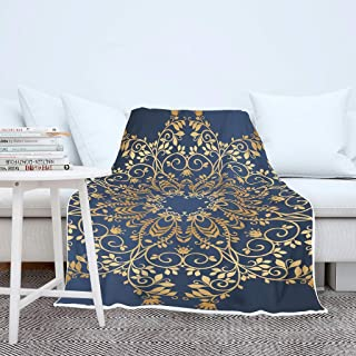 FHU88 Blanket MidnightBlue Golden Mandlada Patterns Print Micro Fiber 2 Sizes Winter Bedding - Cozy Warm Suitable for Women Use White 60x80 inch