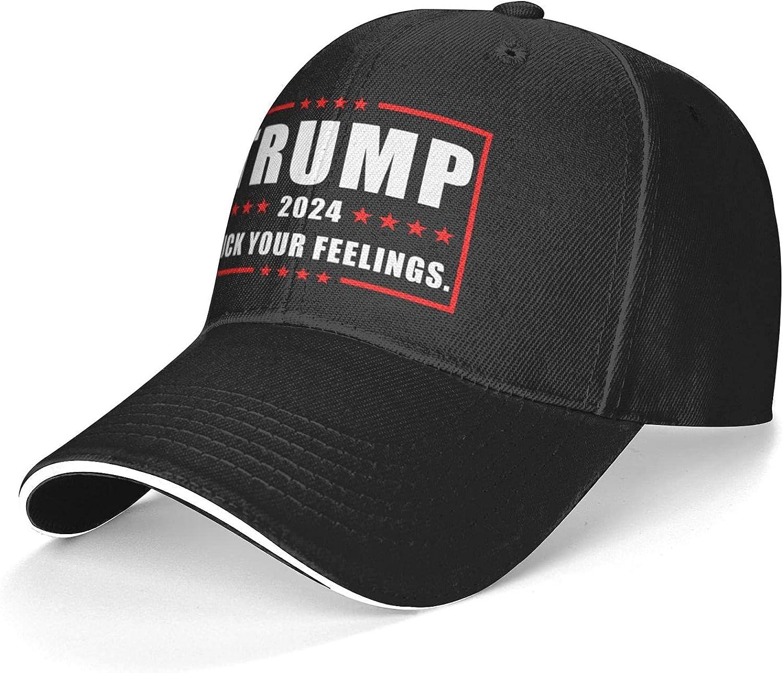 Trump 2024 Fuck Your Feelings. Baseball Caps Dad Cap Sun Hat Adjustable Sports Casquette for Men Women Black