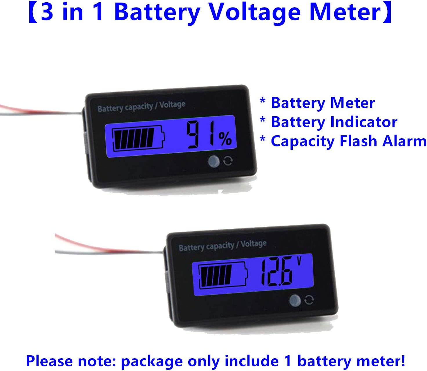 QJFCare Flash Alarm WHITE LCD Waterproof Battery Capacity Monitor Gauge Meter,12V//24V//36V//48V Lead Acid Battery Status Indicator,Lithium Battery Capacity Tester Voltage Meter Monitor