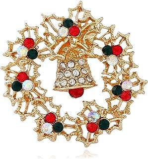 Europa e Stati Uniti Bells di Natale con diamanti Spiro stereo Spilla retrò in lega sottile corona di spilla di Natale Gio...
