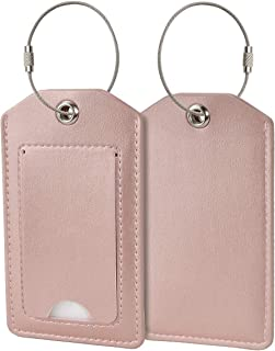 COCASES 2 Pack Luggage Tags Travel Tags Bussiness Card Holder with Name ID Card Privacy Covers Steel Loops - Rose Gold