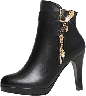 Femmes Automne Hiver Bottes De Neige Cheville Chaudes Fourrure LaçAge Chaussures Plates Shoes Bottines Zippé Talon Compensé