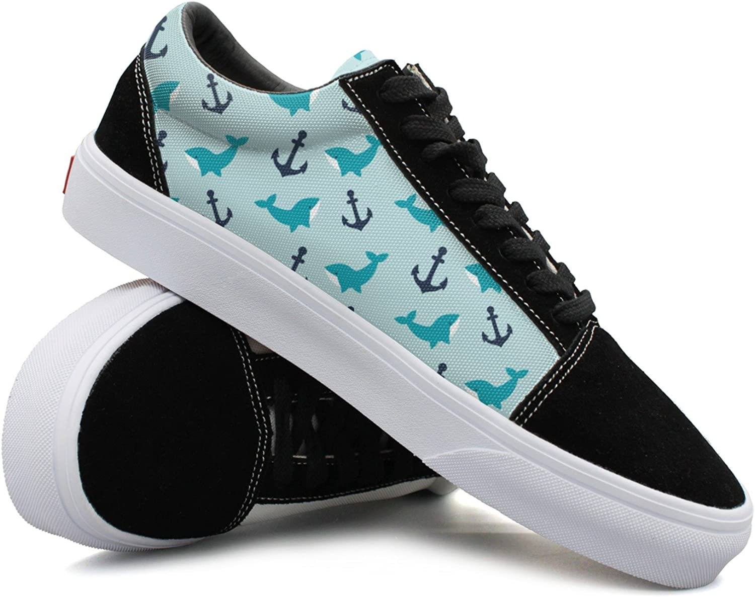 Womens Anchor Whale Pattern Fashionable Canvas shoes