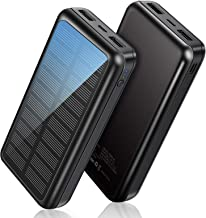 Power Bank Soxono Solar Charger 30000 mAh, Slimmest and Lightest Portable Charger, 2 USB Ports High-Speed Panel External B...