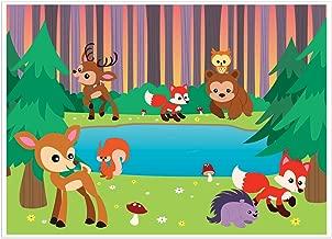 Photo Booth Background Woodland Animals Photography Backdrop -Photo Booth Backgrounds Great for Kids, Girls, Boys, Animated Cartoon Forest Animal Theme Birthday Parties DIY Photobooths 5 x 7 Feet