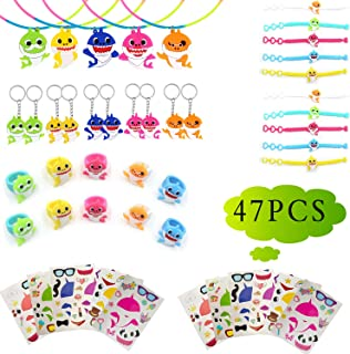 Baby Shark Party Favors, Baby Shark Party Supplies Birthday Party Favors for Kids Goodie Bag Fillers Treasure Box Prizes for Classroom Carnival Prizes Doo Doo Party Favors, Baby Shark Stickers, Wristbands, Key-chains, Rings and Necklaces 47pcs