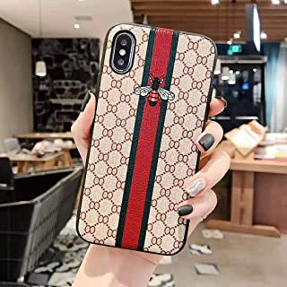 Lovely Bee - New Elegant Luxury Designer PU Leather Classic Monogram Style Protective Case Cover Anti Scratch Drop Protection for Apple (iPhone 11 PRO MAX)