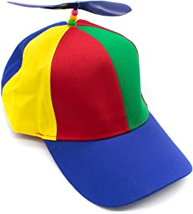 AUEAR, Detachable Adult Propeller Hat Baseball Cap Rainbow Top Hat Brightly Rainbow Color (Blue Brim)