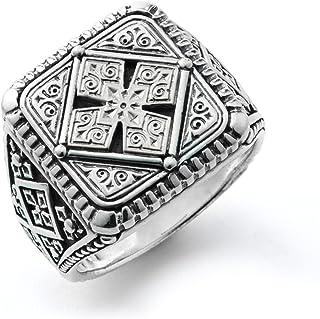 خاتم رجالي من الفضة الإسترلينية 925 بنمط مربع من Konstantino