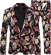 Mens 2 Piece Suit Notched Lapel Floral 1 Button Slim Fit Prom Tweed Suit