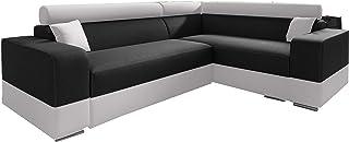 MEUBLO Canapé d'angle Convertibles Tissu et Simili Cuir Georg Mini (Noir + Blanc (Tissu et Simili Cuir), Canapé d'angle Dr...