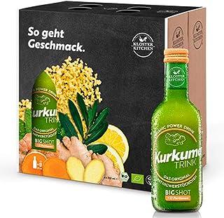 Kloster Kitchen CúrcumaTRINK Bigshot - Shots de jengibre y cúrcuma, 6 botellas de 250 ml, 12 shots en una botella de vidri...