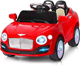 Costzon Ride On Car, 6V Battery Powered Vehicle, Manual/ 2.4G Parental Remote Control Modes Car w/ Flashing Wheel Lights, Swing Function, 3 Speeds, Bluetooth, MP3, Music, Radio, Horn for Kids (Red)