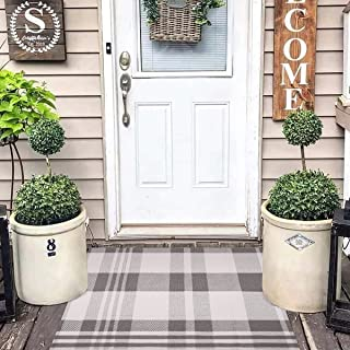 Buffalo Check Rug Plaid Outdoor Rug Washable Laundry Room Front Porch Rugs Farmhouse Kitchen Cotton Woven Black Gray Welco...