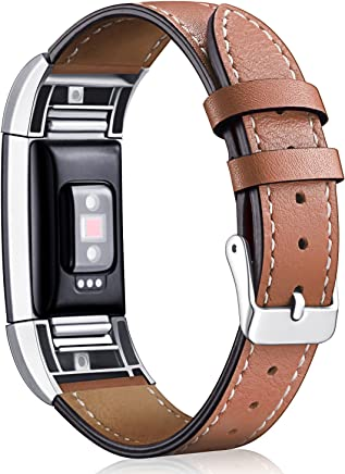 [Most Viewed]Hotodeal for Fitbit Charge 2 Replacement Bands, Classic Genuine Leather Wristband with Metal Connectors, Fitness Strap for Charge 2
