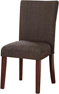 HomePop Parsons Classic Upholstered Accent Dining Chair, Single Pack, Textured Brown