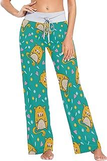 Pantalones de Pijama de Pierna Ancha para Mujer Pantalones de Dormir cómodos Casuales con cordón XS Patrón de hámster Amarillo