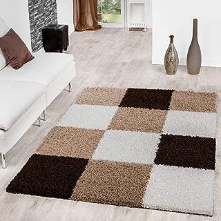 T&T Design Alfombra Moderna Pelo Largo Motivo De Cuadros Shaggy Borlas Marrón Beige Crema, Größe:140x200 cm