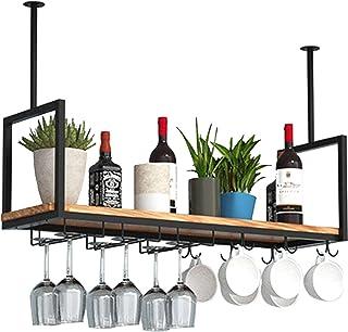 Casier À Vin Au Plafond Casier À Vin Porte-verres À Vin Suspendus Porte-verres À Pied,Étagère De Plafond En Bois Massif En...