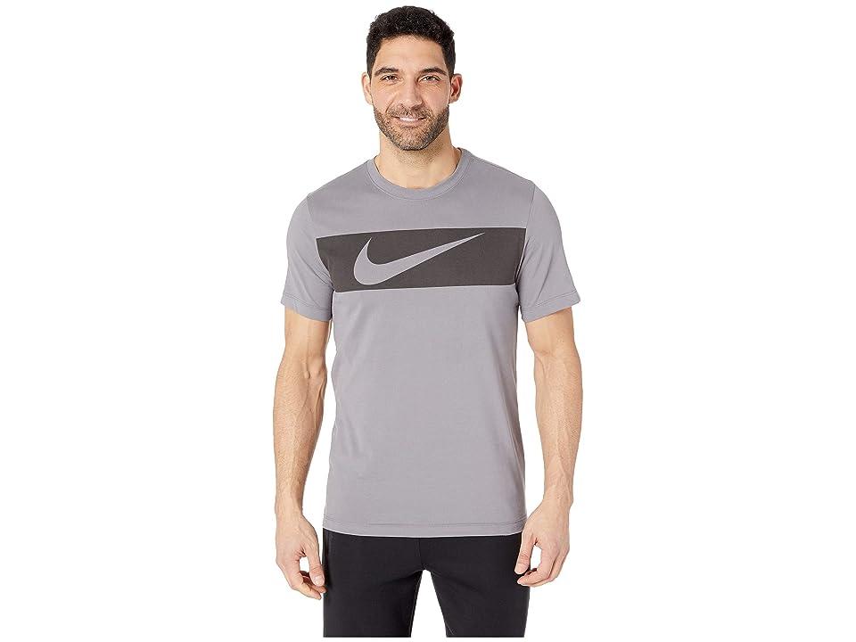 Nike Dry Tee Dri-FITtm Cotton Swoosh Bar (Gunsmoke/Black) Men
