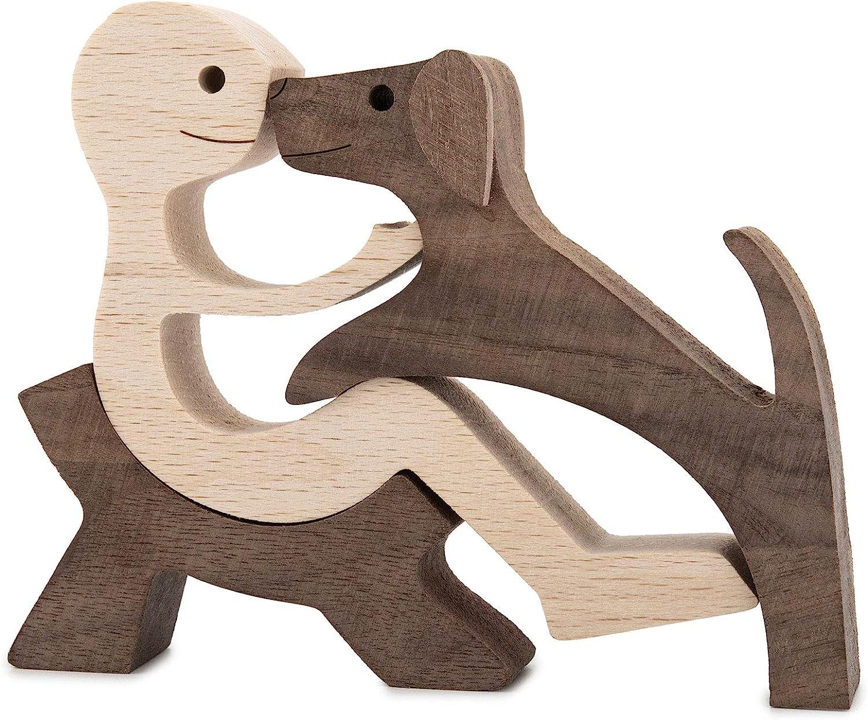 Handmade Wood Decor Sculptures, Sitting Man and Dog Statue, Carv