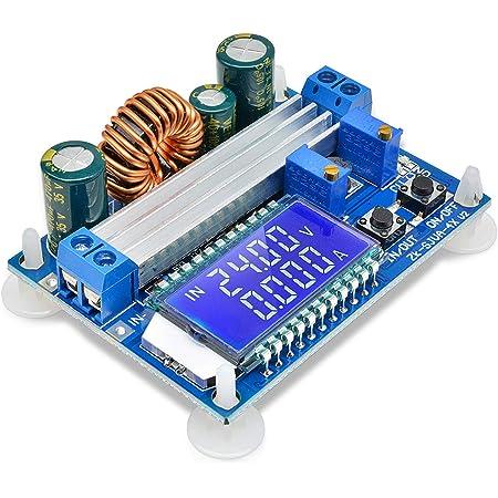 DiyStudio 昇降圧コンバータ 自動昇降圧ボード DC 5.5-30V 12V to DC 0.5-30V 5v 24v 調整可能な定電流電圧 ステップアップ電圧レギュレータ 4A 35W 電源モジュール デジタルLCDディスプレイ