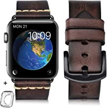 Compatible for Apple Watch Band 42mm 44mm 38mm 40mm Men,Top Grain Leather Band Replacement Strap iWatch Series 6/5/ 4/ 3/ ...