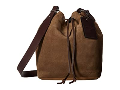 Filson Rugged Suede Crossbody Bucket Bag (Canteen Brown) Cross Body Handbags