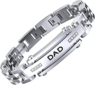 Men Bracelet Stainless Steel with Adjustable Clasp Engraved Wristband for DAD Father