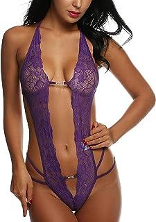 Tuopuda Babydoll Lingerie Donna Sexy Erotico Sleepwear Trasparente Camicia da Notte in Pizzo Hollow Halter Pigiama Vestagl...