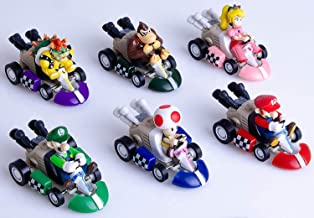 6 Pcs Mario Kart Pull Back Cars Cake Topper Figures Toy Set -Kids Birthday Party Cake Decoration Supplies