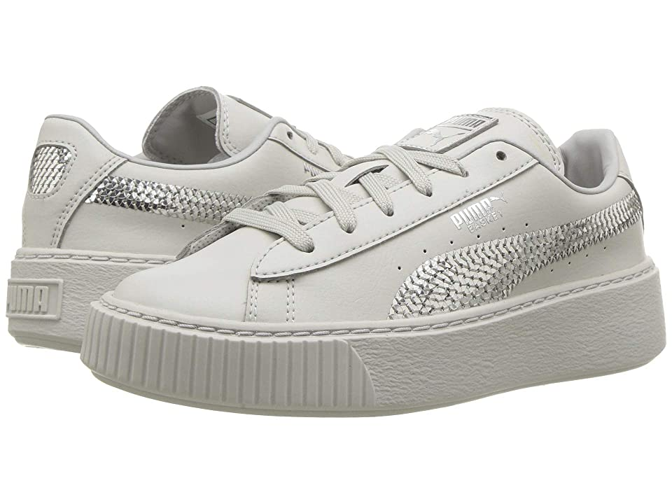 Puma Kids Basket Platform Bling (Little Kid/Big Kid) (Gray Violet/Puma Silver) Girl