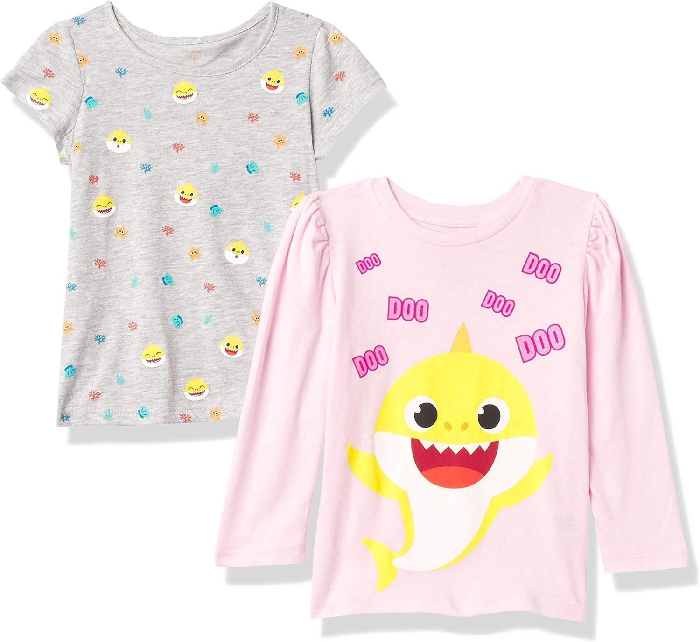 Nickelodeon Baby Girls 2-Piece T-Shirt Bundle Set-Toddler Size 2t-5t-Mommy, Daddy Shark