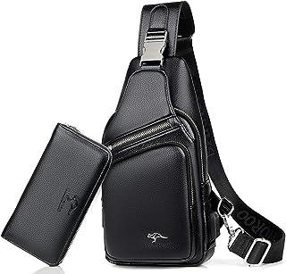 Elonglin Men's PU Leather Sling Bag Multipurpose Daypack Shoulder Chest Crossbody Bag with USB Charging Port Black 2 (with a Wallet)