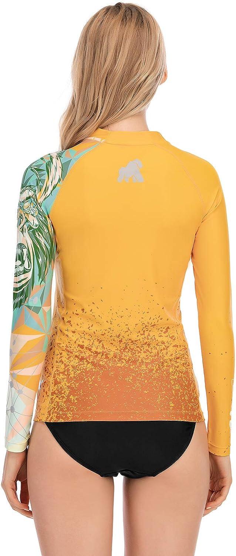 HUGE SPORTS Womens Rash Guard Long Sleeve Sun Protection UPF 50 Swimwear Shirts Beast Series Quick Dry Swimsuit Top Rash Vest