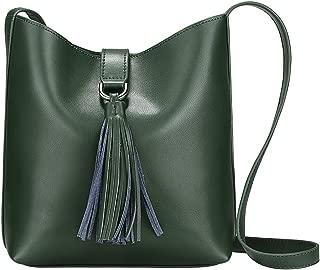 Women Small Cowhide Leather Shoulder Bag Crossbody Bag Ladies Bucket Tote
