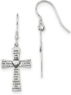Sterling Silver Antiqued Serenity Prayer Words On Cross Shepherd Hook Earrings 38.9x15.2 mm