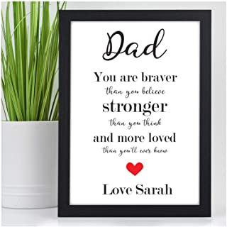 PERSONALISED Braver Stronger Loved Gifts for Dad, Daddy, Grandad Gifts - Custom Birthday, Fathers Day, Christmas Quote Print Gifts - DAD, DADDY, GRANDAD Keepsake Print Gifts for Him