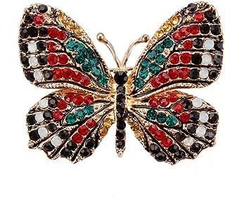 Reizteko Winged Butterfly Crystal Rhinestones Brooch Pin (Red)